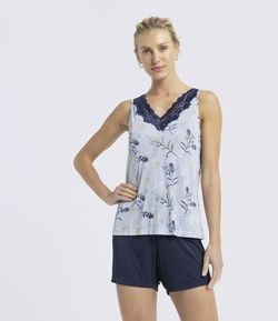 Short Doll Regata Estampa Floral com Short Liso