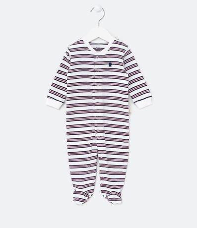 Macacão Infantil Listrado - Tam RN a 18 meses