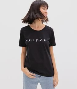 Blusa Manga Curta Estampa Logo Friends