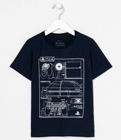 Camiseta Infantil Estampa Playstation Video Game e Controle Brinlha no Escuro - 5 a 14 anos