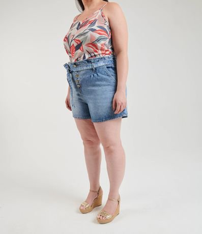Short Jeans Clochard com Cinto Curve & Plus Size