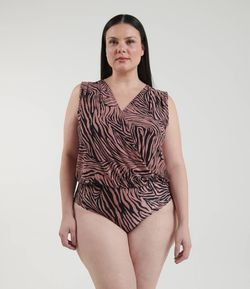 Body Estampa Zebra Curve & Plus Size