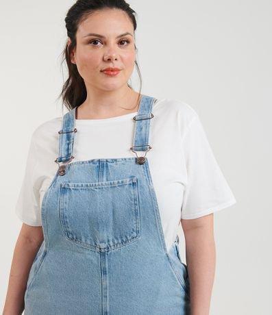 Salopete Jeans com Bolsos Curve & Plus Size