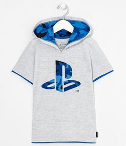 Remera con Capucha Estampa Playstation Tam 5 a 14 años