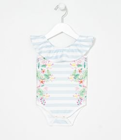 Body Infantil Campesina a Rayas Floral Tropical Tam 0 a 18 meses