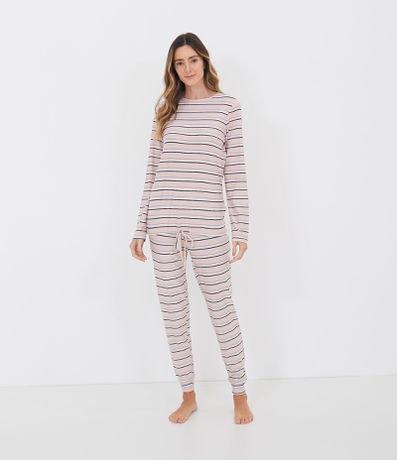 Pijama Toque Suave Manga Longa e Calça com Estampa de Listras