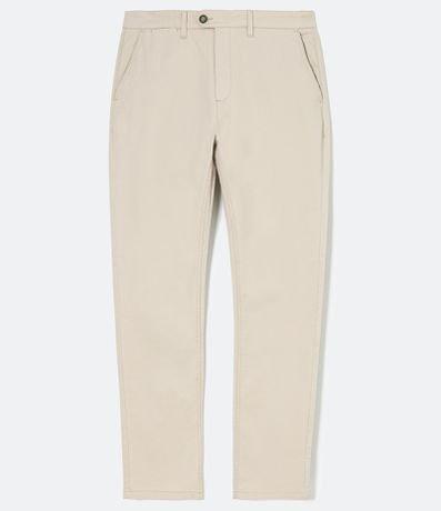 Calça Slim Fit Maquinetada com Textura Lavada em Sarja