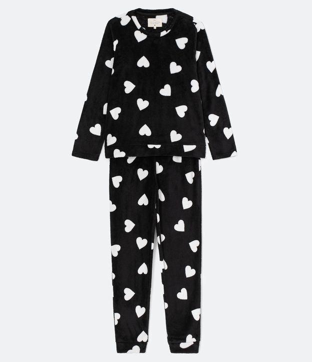 Pijama Manga Longa Calça com Estampa Corações Fleece | Lov | Preto | M