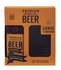 Kit Qod Barber Shop Premium Special Beer Shampoo e Carteira