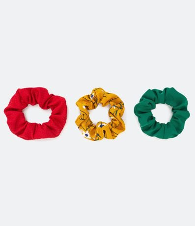 Kit 3 Scrunchies Liso e Floral