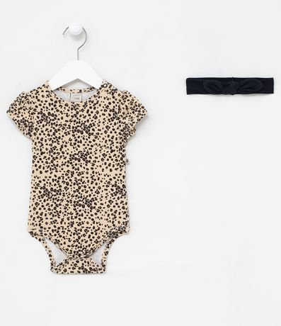 Body Infantil Estampa Animal Print e Tiara - Tam 0 a 18 meses