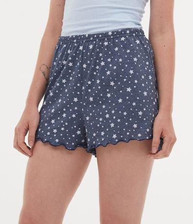 Short de Pijama Estampa Estrelas com Babados