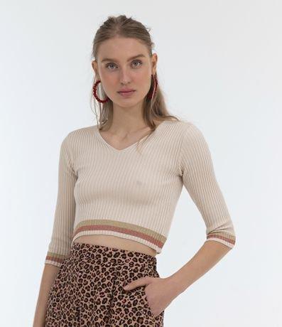 Blusa Lisa em Tricô com Listras na Barra