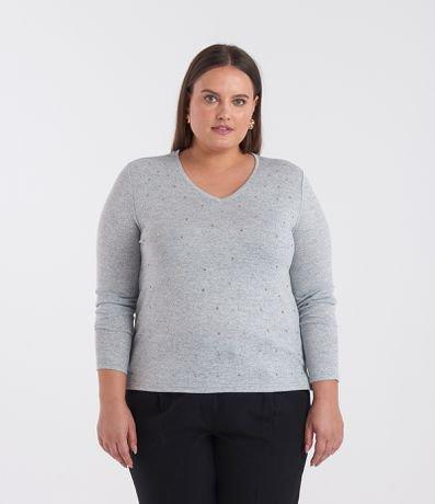 Blusa com Aplicação em Tricô Curve & Plus Size