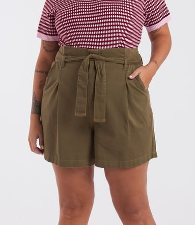 Short Sarja Clochard com Cinto Curve & Plus Size