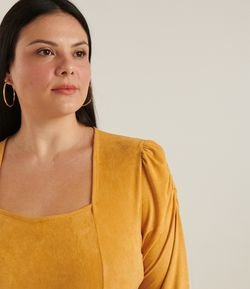 Body de suede decote quadrado Curve & Plus Size