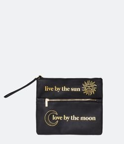 Necessaire Envelope com 2 Zípers Estamps Lua e Sol