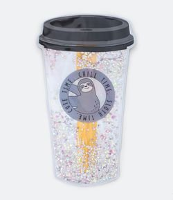 Necesaire Rectangular con Glitter Estampa Lazy Sloth