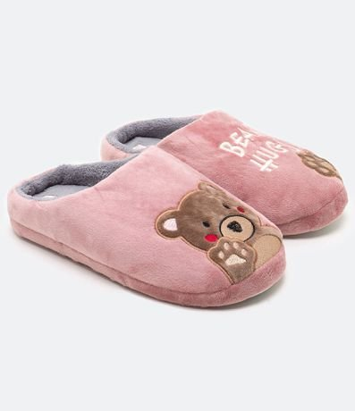 Pantufa Lisa Bordado Urso