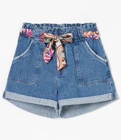 Short Jeans Clochard com Lenço Estampada