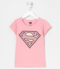 Camiseta Infantil Estampa Super Girl - Tam 4 a 14 anos