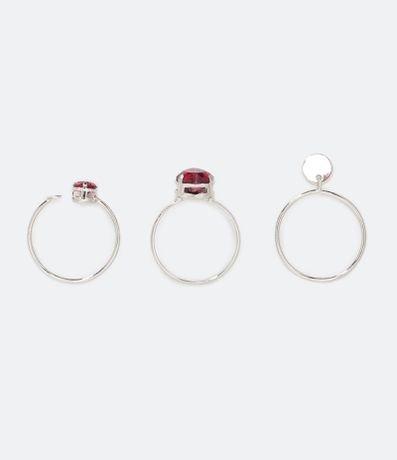 Kit 3 Anéis com Pedra Coração em Zircônia
