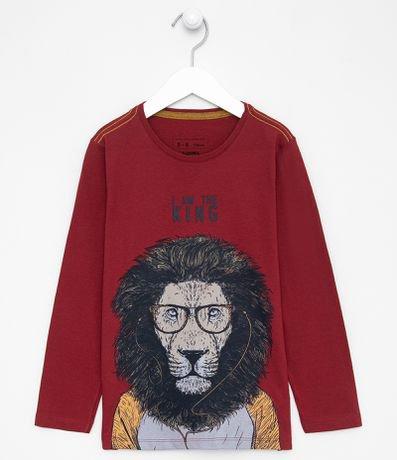 Camiseta Infantil Estampa de Leão de Fone - Tam 5 a 14 anos