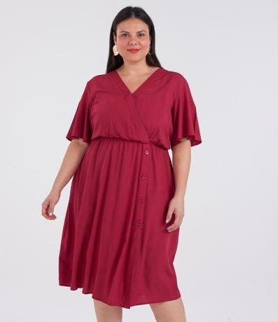 Vestido Transpassado com Botões Curve & Plus Size