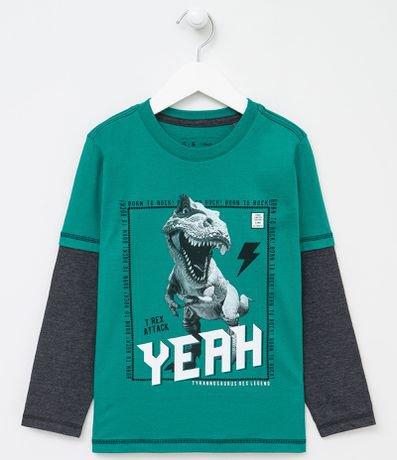 Camiseta Manga Longa Infantil Estampa Dinossauro  - Tam 5 a 14 anos