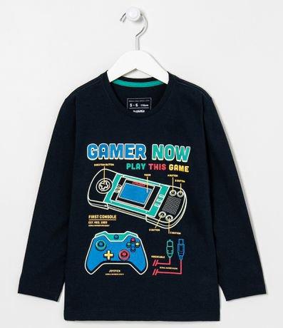 Camiseta Manga Longa Infantil Estampa Gamer - Tam 5 a 14 anos
