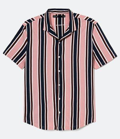 Camisa Piquet Listrada Manga Curta