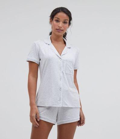 Pijama Americano Manga Curta e Shorts Liso com Bolso