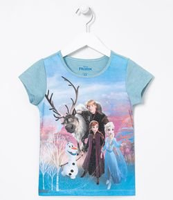 Camiseta Infantil Estampa Personagens Frozen - Tam 5 a 14 anos