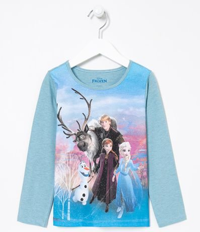 Camiseta Infantil Estampa Personagens Frozen - Tam 1 a 14 anos