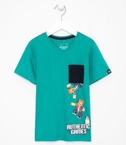 Camiseta Infantil Estampa Authentic Games - Tam 5 a 14 anos
