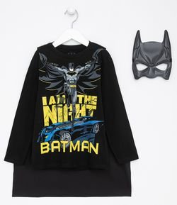 Camiseta Infantil Estampa do Batman com Capa e Máscara - Tam 3 a 10 anos