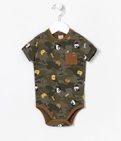 Body Infantil Camuflado Estampa de Cachorrinhos - Tam 0 a 18 meses