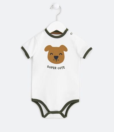 Body Infantil Estampa de Cachorro Super Cute - Tam 0 a 18 meses