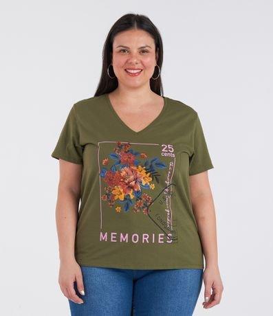 Blusa Floral com Estampa Memories Curve & Plus Size