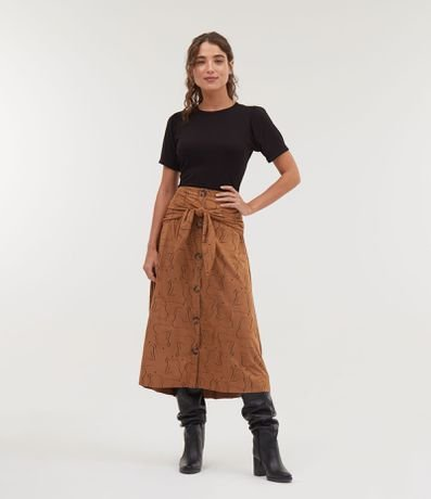 Blusa manga curta de malha lisa