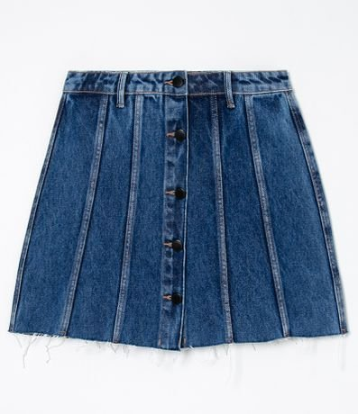 Saia Jeans com Recortes e Botões