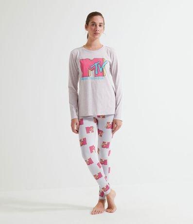Pijama Manga Longa Estampa Logo MTV