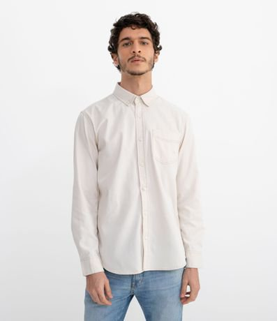 Camisa Manga Longa Lisa com Bolso