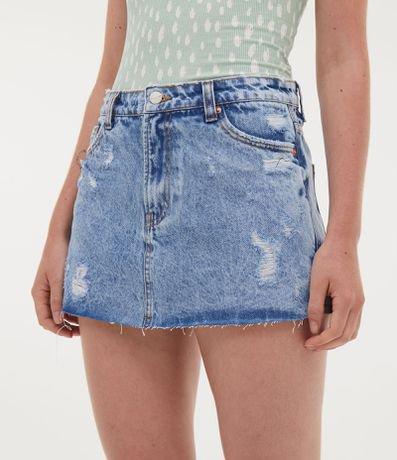 Short Saia Jeans com Puídos