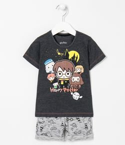 Conjunto Infantil Camiseta Estampa do Harry Potter e Bermuda Estampada - Tam 1 a 4 anos