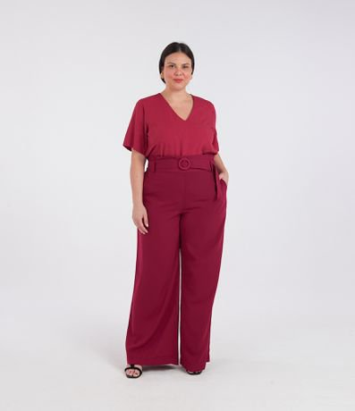 Calça Alfaiataria Pantalona com Cinto Forrado Curve & Plus Size