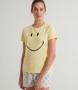 Pijama Manga Corta Estampa Smiley