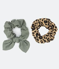 Kit 2 Scrunchie de Linho Estampa Lisa e Animal Print
