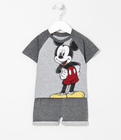 Conjunto Infantil Camiseta Estampa do Mickey Rabiscado e Bermuda com Bolso Canguru - Tam 0 a 18 meses