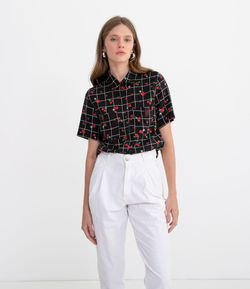 Camisa Grid com Estampa Cereja